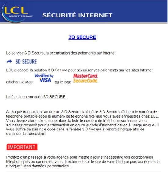 REGLEMENT SECURISE 3D SECURE